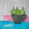 3 Pears in Bowl - mixed on board