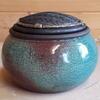 Raku pot with textured lid