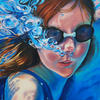 Self Portrait underwater 2019. Oil on Canvas 4ft by 3ft