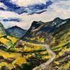 Hills of Scotland - landscape: acrylics on wood, 40x50cm £70