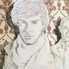 Wallpaper at 221b. Pencil acrylics. 92x61cm.