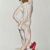 Red shoes. Watercolor on paper