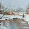 Silence-Original Oil painting, Landscape, Seasonal painting, Impressionist Art- A3, Palette knife, 2020