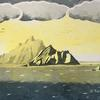 Skelligs Golden Light - hand printed reduction linocut