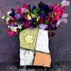 rectangular slab built vase decorated with slips, engobes, ceramic ink and gold leaf