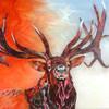 'Snow King'  91 x 61cm  Metal leaf & Acrylic on Canvas