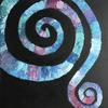 Inspired by spirals in weather systems, Spirals 7 is acrylic on canvas 60 cm square.