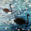 Starlit Swans  /Oil on canvas