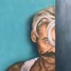 Steve on the edge. Portrait. Oil on Canvas