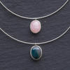 Sterling silver chokers with stone pendants