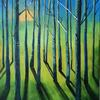 'Sunrise in the forest' - a vision of better days to come. Part of my Forests series. Mixed media on canvas. 40 x 50 cm