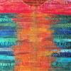 Sunset - Textile art - developed from strips of fabric and embellished with machine embroidery
