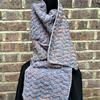"""Sunset Song Scarf - blue and rust recycled silk and cotton yarns, £38 (9""""x74"""")"""