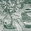 "Terracotta Hostas 1 - Linocut monoprint 8"" x 12"""