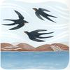 3 swallows flying above water, distant hills beyond the water, screenprint and lino cut.