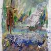 'Tree and River' Mixed Media 15x23cm