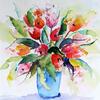 Tulips 9, Watercolour, framed