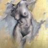 Twisted Turso. Oil on canvas. Gold leaf application. Female figure.