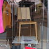 Warped perspective chair. Birch plywood. On display in Wanstead Art Trail.