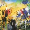 """Wild Meadow 3 Acrylic (Abstract on Paper Approx size 7"""" x 10"""")"""