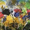 """Wild Meadow 1 Acrylic (Abstract on Paper Approx size 7"""" x 10"""")"""