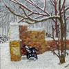 Winter Bench. The walls of the ruined mill at Broxbourne were the inspiration for this winter scene.