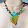 Handmade Polymer Clay Necklace with Leather Cord