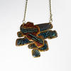 Handmade clay and  bronze necklace