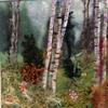Woodlands mixed media textile