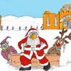 Masked Santa. Print. Original in Watercolour. Prints Available.