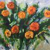 An oil painting of yellow/orange roses on 3mm board, 76cm x 51cm, framed in an off white wooden frame. Available without frame.