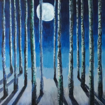 'Moonlit Forest' - the moon reflects cool shadows through the trees. Mixed media. In my Forests series.