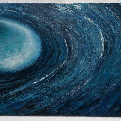 'In Deep' 50 x70cm oil on canvas, the space beneath the wave