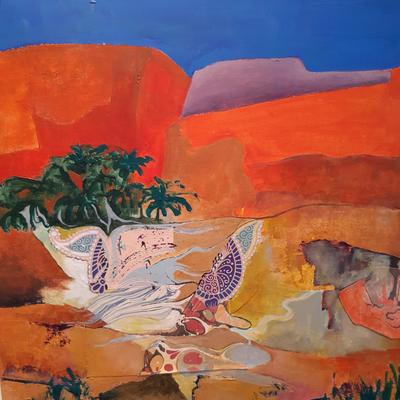 Moroccan desert     mixed media painting with collage   Petra Geggie