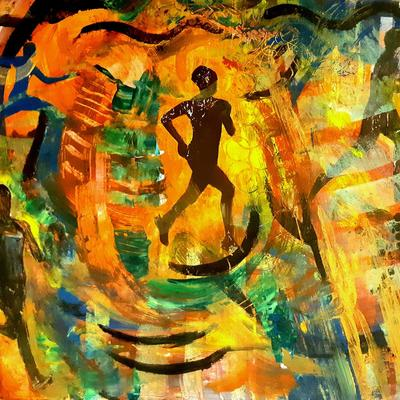 Dopamine: running themed painting