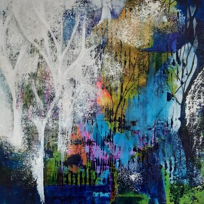 winter mixed media painting  Petra Geggie