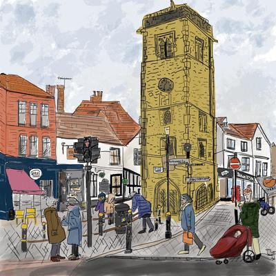 St Albans Clock Tower (for St Albans Artists' Calendar 2021), digital image, prints £20 + p&p