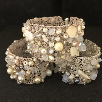 Ice & Snow Bracelets - silver, ivory & white knitted bracelets, with crystals, pearls & semi-precious stones.