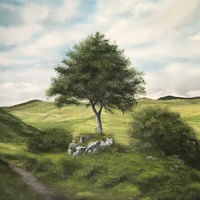 "Landscape oil painting, original, hills & trees, 24x18"" canvas, wet on wet technique painted by Leon Barnes, sold"