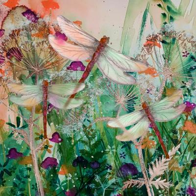 Hand Finished with Metallic Inks a Dragonfly Nature Print  from an original watercolour painting by Jay Nolan-Latchford