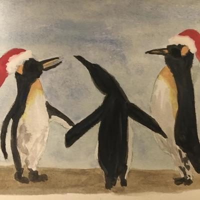 Dancing Christmas penguins - available as Christmas cards