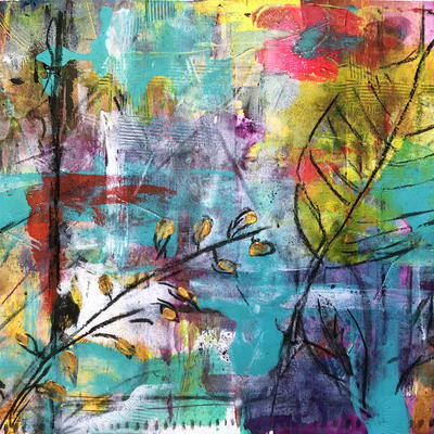 Mixed Media Acrylic Painting  approx size A3 on paper