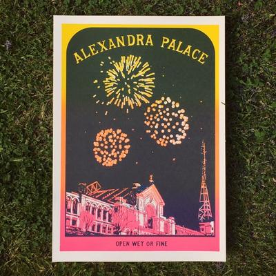 Alexandra Palace Fireworks, screenprint, limited edition of 50, featuring a nighttime view of London's Alexandra Palace during the firework festival in November.
