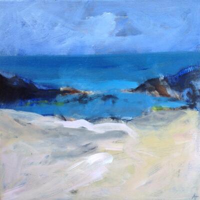 Bamburgh Beach, Rock pools, acrylic, 40 x 40