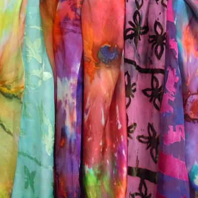Assorted silk and devore scarves