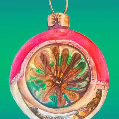 Christmas Past - bauble reflecting my garden.. coloured pencil with digital blend background