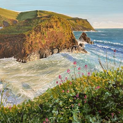 Cliff Flowers at Hope Cove - acrylics