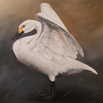 Jo Chesney - Bewick Swan painted in acrylics on canvas