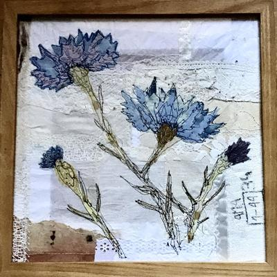 Cornflower Blues - Appliqué, Naturally-Dyed Fabrics, Machine Embroidery