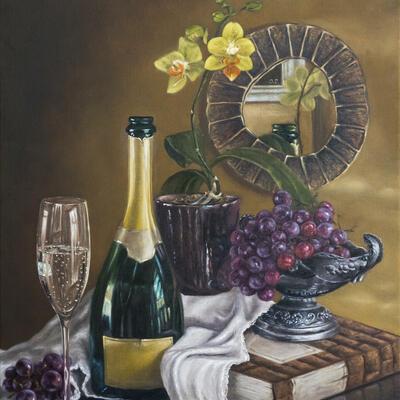 """Champagne tribute""-Original oil painting by Sabbi Gavrailov   Fine Art   2021"